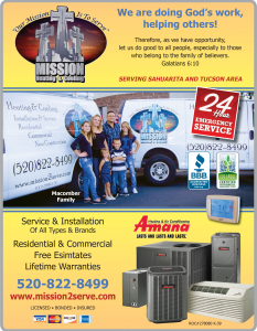 Air Conditioning Service, Repair and Installation ContractorMission Heating & Cooling, Tucson AZ - find us in the Tucson Christian Business Directory under heating, ventilating, and air conditioning contractors